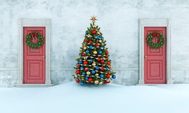 Old house with christmas tree Royalty Free Stock Photos