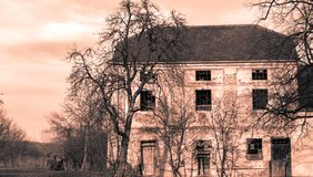 Old house in the city of Pakrac in monochrome. Technique. Decaying building Royalty Free Stock Photo