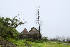 Old house in cloudy weather at Purandhar, Maharashtra, India.  royalty free stock photo