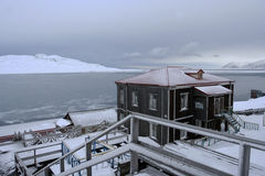 The old house on the coast of Grenfjord. Stock Photography