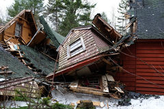 Old house collapsing Royalty Free Stock Photos