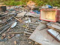 Old house completely destroyed. In construction site Royalty Free Stock Image