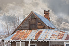 Old House in the Country in Winter Stock Photo