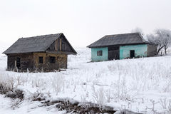 Old house from the country. On the winter day stock images