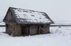 Old house from the country. On the winter day royalty free stock photo