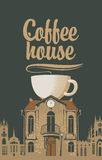 Old house with a cup of coffee Royalty Free Stock Image