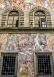Old house, decorated with frescoes, in Florence Stock Images