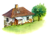 Old house. In Eastern Europe, painted with watercolours Stock Images