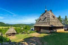 Old house in ethno village in Serbia Stock Photos