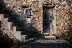 This old house. Evening light on an abandoned house in Portinello on Corsica, France Royalty Free Stock Image