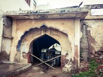 Old house exterior. July 2017, Jind, Haryana - Entrance gate of an old style house in a village near Jind district. Haveli like structure and beautiful designs Stock Photo
