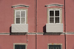 Old house exterior. Portuguese colonial architecture in Macau, China Stock Images