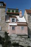 Old house exterior Split. Exterior of old house on rock formation in town of Split, Croatia Stock Image