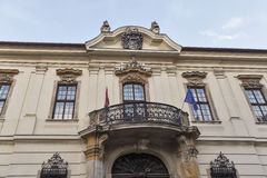 Old house facade with balcony in Budapest, Hungary. Stock Images