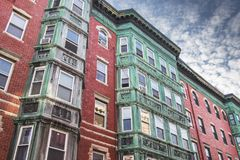 Old house facade in North End, Boston. Green and red old house facade in North End, Boston stock images