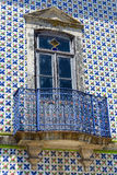 Old house facade. With Portuguese typical hand painted tiles royalty free stock image