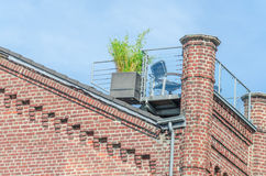 Old house facade with roof terrace Royalty Free Stock Photos