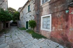 Picturesque old houses on the peninsula of Peljesac, Croatia royalty free stock photography