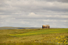 An old house on farmland. An old small house sitting on farmland with a cloudy sky and hills in the distance Royalty Free Stock Images