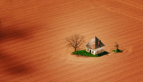Old house on field. With two trees Royalty Free Stock Images