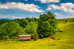 Old house in a field in the Potomac Highlands of West Virginia. Royalty Free Stock Photo