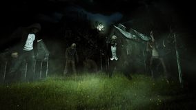 Old house field of zombies 4k loop. Features a field of zombies in front of an old broken down house with a foggy atmosphere and lightning bugs stock video footage
