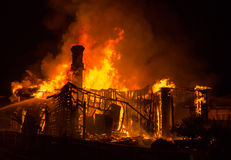 Old House Fire Stock Photo
