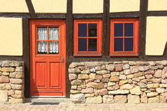 Old house in France. Door in a half-timbered house in Alsace, France Royalty Free Stock Photos