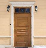 Old house front door composition. Outdoor photo of old house front door composition Royalty Free Stock Photo