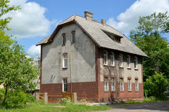 Old house of the German construction. City Gusev, Kaliningrad region Royalty Free Stock Photo