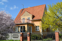 Old house of the German construction in Kaliningrad. Spring landscape Royalty Free Stock Photo