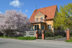 Old house of the German construction in Kaliningrad. Spring Stock Images