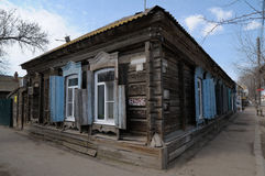 Old house in good condition. Wooden house. Russia, Astrakhan Stock Image