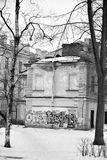 Old house with graffiti on Maple Street. ST.PETERSBURG, RUSSIA - 5 MARCH 2016: Old house with graffiti on Maple Street in historical center of St.Petersburg at stock images
