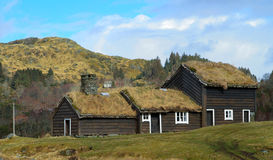 Old house with grass roof. Old house in Norway Stock Photos