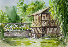 Old house in green forest, watercolor painting Stock Photo