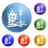 Old house icons set vector stock illustration