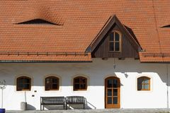 Old house with interesting windows. At the castle of Klaffenbach royalty free stock image