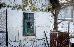 Old house with irritated paint_ royalty free stock photo