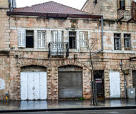 Old house in Jerusalem. Winter day after rain Stock Photo