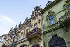 Old house in Kaposvar. Hungary with beautiful balcony Stock Photography