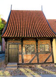 Old house, Koege Denmark. Old half-timbered house paved street Royalty Free Stock Photos