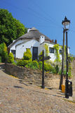 Old house and lantern in Knaresborough, England. View of an old english house and lightpost on a hill, taken in Knaresborough, North Yorkshire, United Kingdom Royalty Free Stock Image