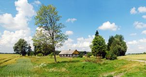 Old house in lithuanian village. Kupiskis district Royalty Free Stock Photo