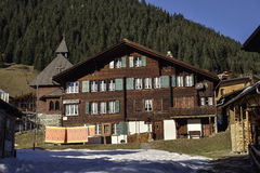 Old house in Mürren village. Switzerland Stock Photo