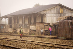 Old house in Madagascar near to train station.  stock images