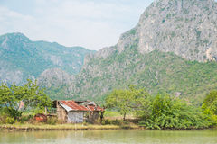 Galvanized iron house at red mountain, Thailand Stock Photography