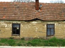 Old house made ​​of mud. Old abandoned ruined house in the countryside Stock Photography