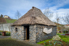 Old house of the Madeira island citizens, reconstruction at culture park. Royalty Free Stock Images