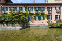 Old house on the Martesana canal (Milan, Italy) Stock Images